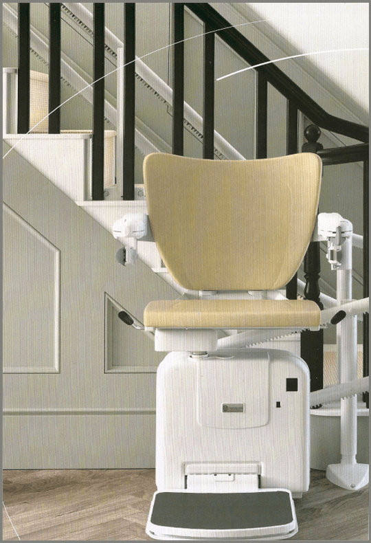 Handicare stairlift, white and cream stair lift, Sutton Stairlifts, Shepton Mallet, Glastonbury, Taunton, Exeter, Plymouth