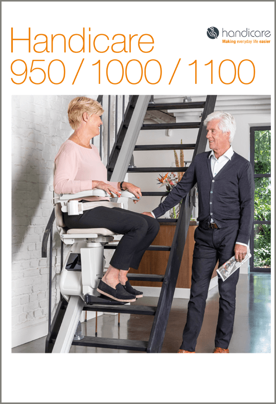 Handicare stairlifts, Elderly home independence, disability home independence, White and cream stairlift, Sutton Stairlifts, Shepton Mallet, Glastonbury, Taunton, Exeter, Plymouth